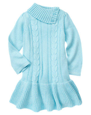 Girls Snowflake Blue Shimmer Cable Sweater Dress by Gymboree
