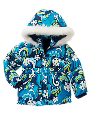 Winter Blue Snowflake Snowflake Swirl Hooded Puffer Jacket by Gymboree