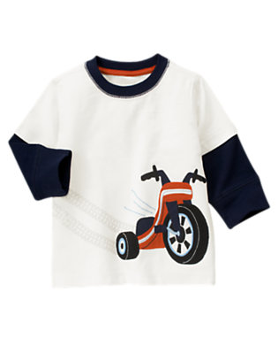 Ivory Big Wheel Double Sleeve Ringer Tee by Gymboree