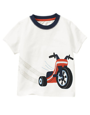 Ivory Big Wheel Ringer Tee by Gymboree