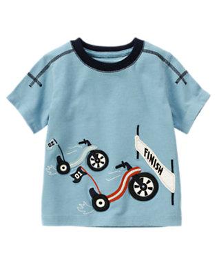 Toddler Boys Blue Skies Racing Big Wheels Short Sleeve Tee by Gymboree