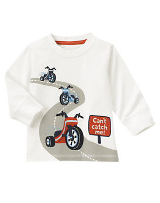 Toddler Boys Ivory Big Wheels Tee by Gymboree