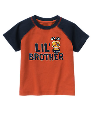 Toddler Boys Orange Red Lil' Brother Trophy Tee by Gymboree