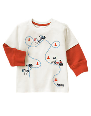 Toddler Boys Ivory Big Wheel Race Double Sleeve Tee by Gymboree
