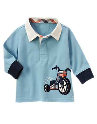 Toddler Boys Blue Skies Big Wheel Rugby Shirt by Gymboree