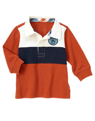 Toddler Boys Orange Red Big Wheel Patch Pieced Stripe Rugby Shirt by Gymboree