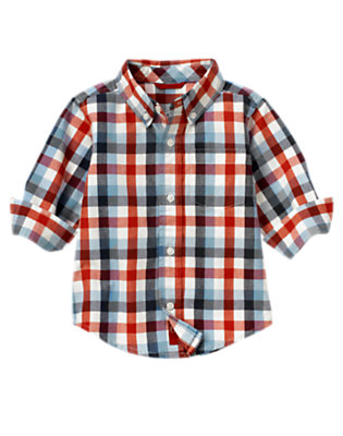 Toddler Boys Midnight Blue Check Checked Shirt by Gymboree