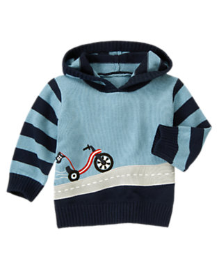 Blue Skies Big Wheel Stripe Sweater Hoodie by Gymboree