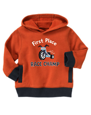 Toddler Boys Orange Red First Place Race Champ Hoodie by Gymboree