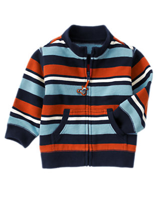 Blue Skies Stripe Stripe Zip Fleece Cardigan by Gymboree