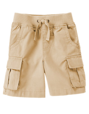 Toddler Boys Khaki Pull-On Canvas Cargo Short by Gymboree