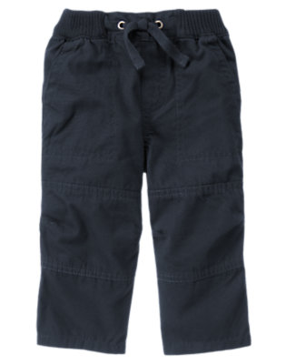 Toddler Boys Midnight Blue Knee Seam Canvas Pant by Gymboree