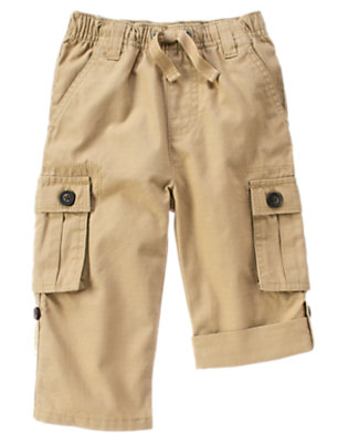 Khaki Roll Cuff Ripstop Cargo Pant by Gymboree