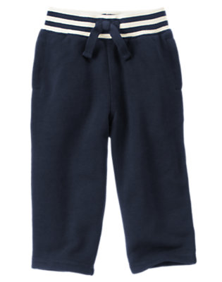 Midnight Blue Ribbed Waist Fleece Active Pant by Gymboree