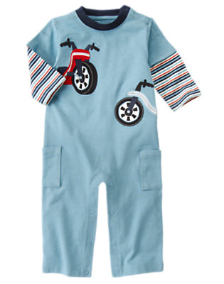 Blue Skies Big Wheels Double Sleeve One-Piece by Gymboree