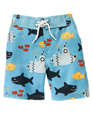 Toddler Boys Blue Skies Sea Creatures Swim Trunk by Gymboree