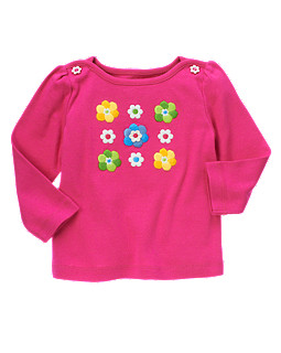 Embroidered Flower Long Sleeve Tee
