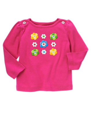 Daisy Pink Embroidered Flower Long Sleeve Tee by Gymboree