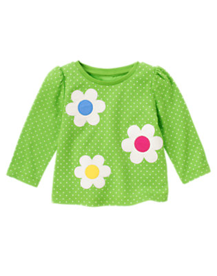 Clover Green Dot Flower Dot Long Sleeve Tee by Gymboree