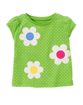 Clover Green Dot Flower Dot Tee by Gymboree