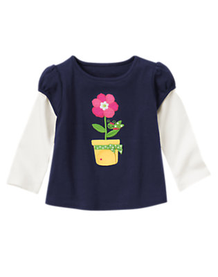 Spring Navy Grasshopper Flower Pot Double Sleeve Tee by Gymboree