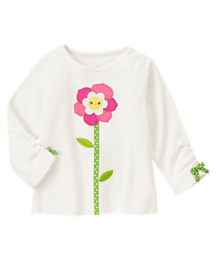 Ivory Smiling Flower Long Sleeve Tee by Gymboree