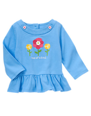 Songbird Blue One Of A Kind Flower Top by Gymboree