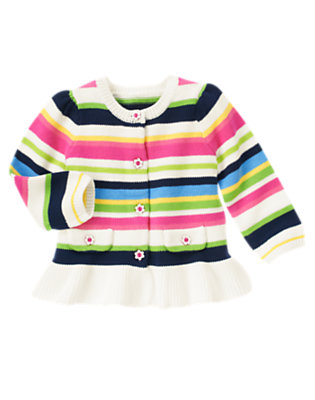 Toddler Girls Clover Green Stripe Flower Button Stripe Sweater Cardigan by Gymboree