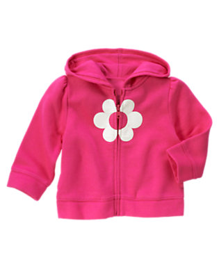 Toddler Girls Daisy Pink Flower Fleece Hoodie by Gymboree