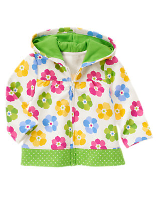 Ivory Floral Flower Dot Mixed Print Terry Hoodie by Gymboree