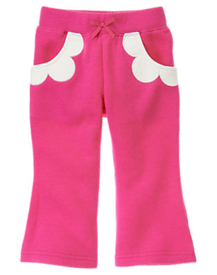 Toddler Girls Daisy Pink Flower Pocket Fleece Pant by Gymboree