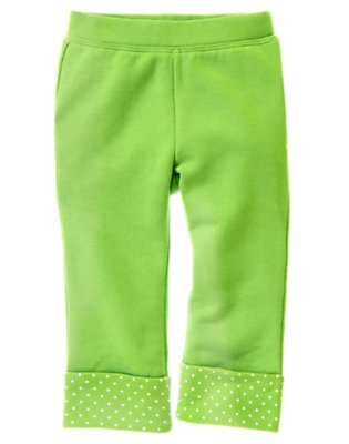 Toddler Girls Clover Green Dot Cuff Terry Pant by Gymboree