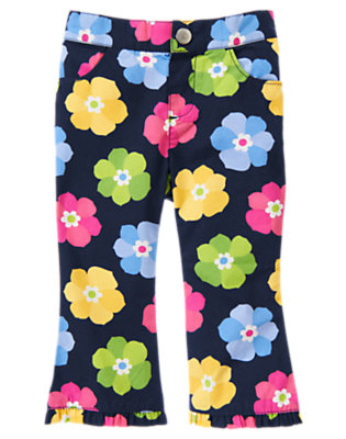 Toddler Girls Spring Navy Floral Flower Ruffle Hem Pant by Gymboree