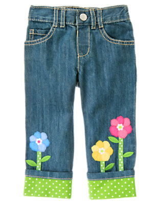 Toddler Girls Denim Growing Flowers Dot Cuff Jean by Gymboree
