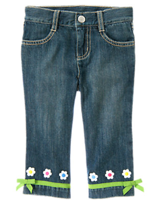 Toddler Girls Denim Flower Bow Cuff Jean by Gymboree