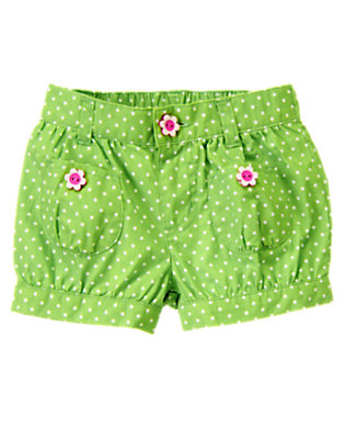 Toddler Girls Clover Green Dot Flower Button Dot Short by Gymboree
