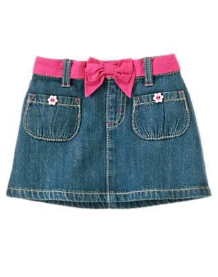 Toddler Girls Denim Flower Button Belted Jean Skirt by Gymboree