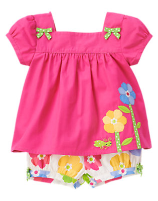 Toddler Girls Daisy Pink Flower Grasshopper Two-Piece Set by Gymboree