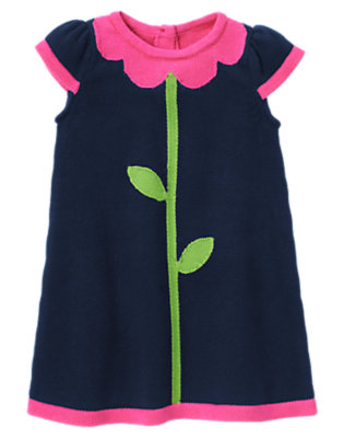 Toddler Girls Spring Navy Flower Sweater Dress by Gymboree