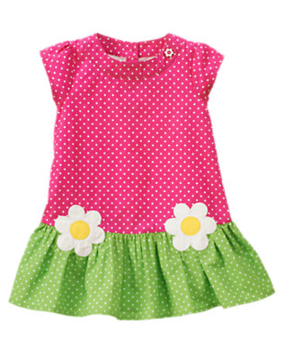 Toddler Girls Daisy Pink Dot Dot Flower Dress by Gymboree