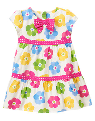 Toddler Girls Ivory Floral Flower Dot Mixed Print Dress by Gymboree
