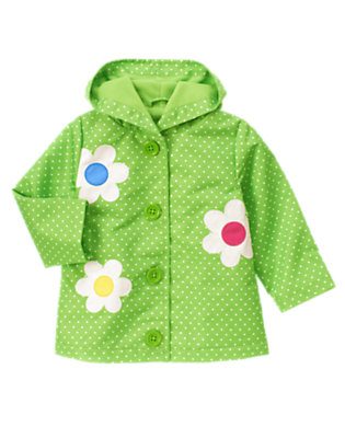 Toddler Girls Clover Green Dot Dot Flower Hooded Raincoat by Gymboree