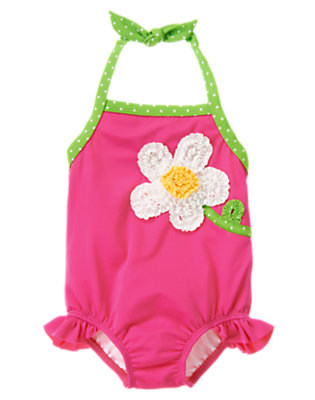 Toddler Girls Daisy Pink Flower Ruffle One-Piece Swimsuit by Gymboree