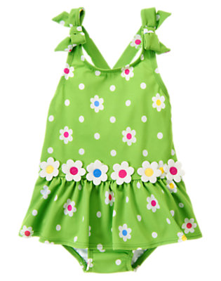 Toddler Girls Clover Green Flower Dot Flower Dot One-Piece Swimsuit by Gymboree