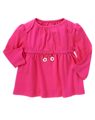 Daisy Pink Flower Bow Long Sleeve Top by Gymboree