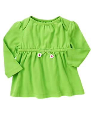 Clover Green Flower Bow Long Sleeve Top by Gymboree
