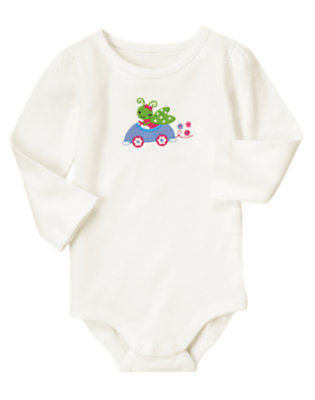 Ivory Grasshopper In Car Bodysuit/Tee by Gymboree