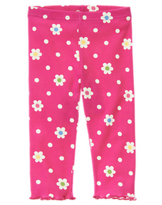 Toddler Girls Daisy Pink Flower Dot Flower Dot Legging by Gymboree