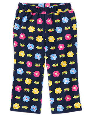 Toddler Girls Spring Navy Grasshopper Flower Knit Pant by Gymboree