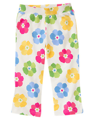Toddler Girls Ivory Floral Flower Knit Pant by Gymboree